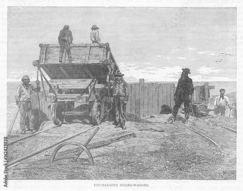 Photo Peru - Guano - Wagons - 19th century. Date: Nineteenth century