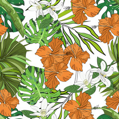 FototapetaSeamless vector pattern of hand drawn flowers and leaves. Tropical background.