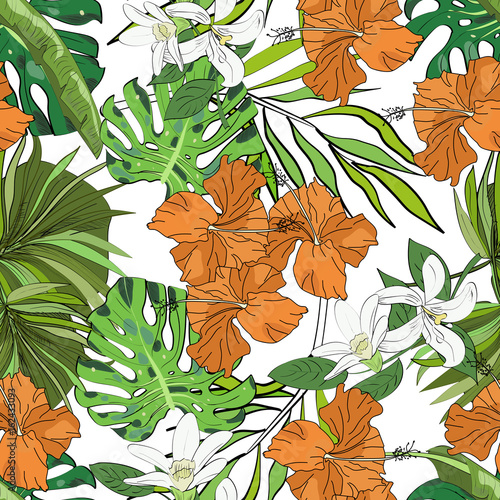 Seamless vector pattern of hand drawn flowers and leaves. Tropical background. - 162433093