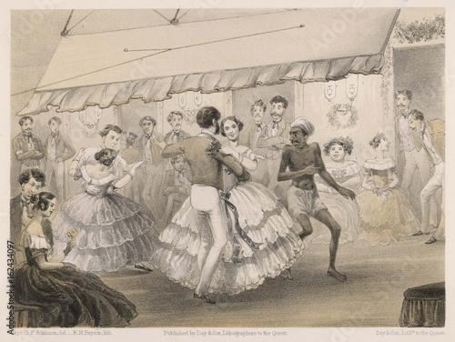 Fotografía Dancing at a ball in British India  1860. Date: 1860