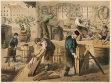 Workshop Of A Cooper (barrel Maker). Date: 1875