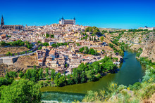 Aerial Top View Of Toledo, Historical Capital City Of Spain