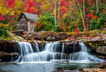 Grist Mill In Beautiful Autumn Fall Color