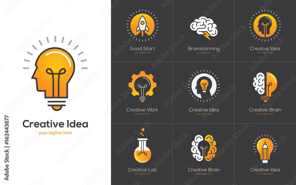 Fototapety, obrazy: Creative idea logo set with human head, brain, light bulb.