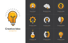 Creative Idea Logo Set With Hu...