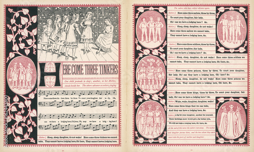 Here come three tinkers  words and music. Date: 1886 Canvas Print