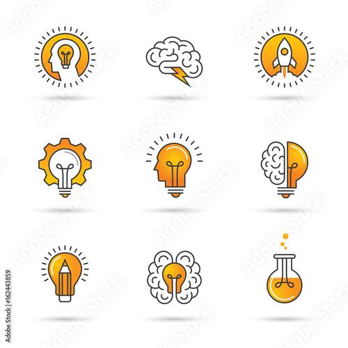 Creative idea logo set with human head, brain, light bulb. Canvas Print