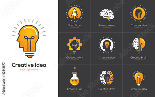 Fotografía  Creative idea logo set with human head, brain, light bulb.