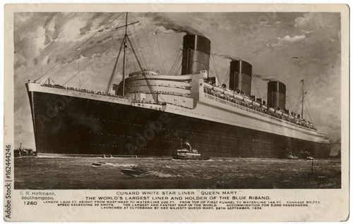 Photo  Queen Mary' Ocean Liner . Date: 1936