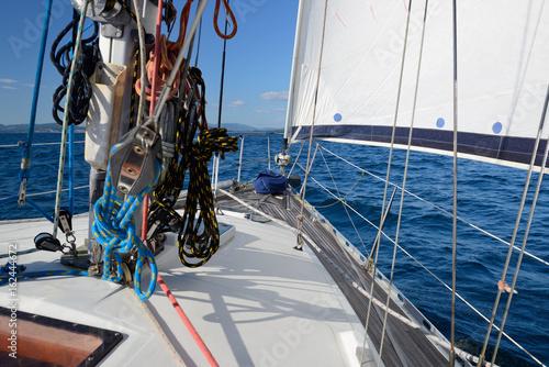 Foto op Aluminium Zeilen rigging of a sailing yacht close-up