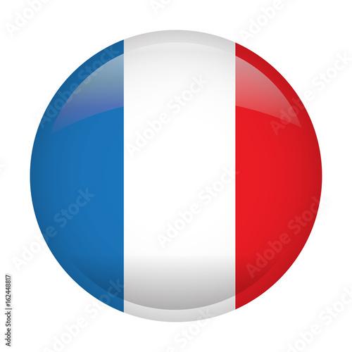 Plakat Odosobniona flaga Francja na guziku, Wektorowa ilustracja