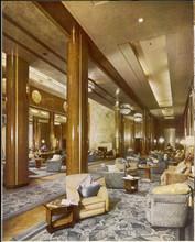 Queen Mary Ocean Liner  Main Lounge. Date: 1937