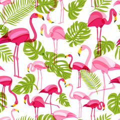 Panel Szklany Ptaki Vector seamless pattern with pink flamingo and green palm tree leaves. Summer tropical background. Trendy design for fabric and textile print.
