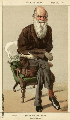 Photo Charles Darwin  caricatured in Vanity Fair. Date: 1871