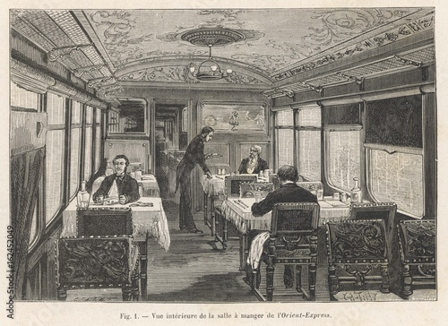 Orient Express - Dining car. Date: 1884 Wallpaper Mural