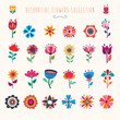 Abstract decorative collection of isolated colorful flowers