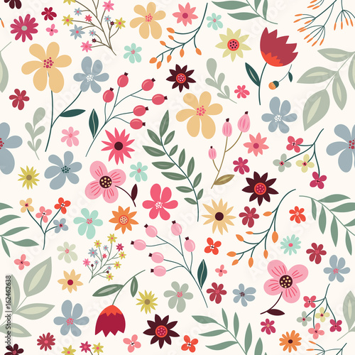 Seamless pattern with flowers and plants