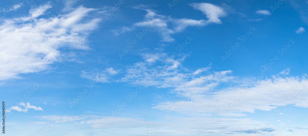 Fototapety, obrazy: Panorama of blue sky background with white clouds on a sunny day