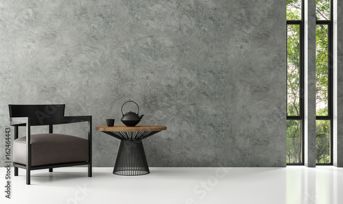 Modern Loft Living Room 3d Rendering Image There Is A Polished Concrete Wall.  White Floors