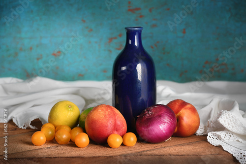 Still Life with Fruits and Blue Vase