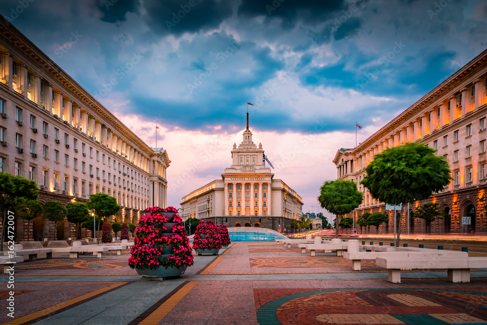 Fototapety, obrazy: Stunning view of Sofia city center on a summer sunset in Bulgaria