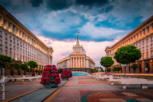 Valokuva  Stunning view of Sofia city center on a summer sunset in Bulgaria