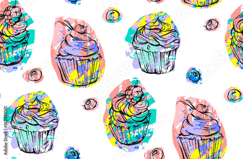 fototapeta na ścianę Handdrawn vector abstract seamless artistic abstract creative colorful cupcakes and berries pattern isolated on white background.Sweet food decoration for fabric,wrapping,label,design,logo,birthday
