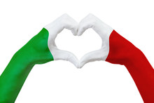 Hands Flag Of Italy, Shape A Heart. Concept Of Country Symbol, Isolated On White.