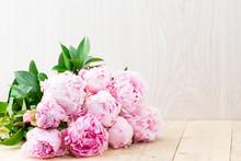 Peonies Flowers On Table
