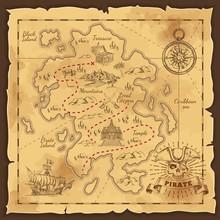 Pirate Treasure Map Hand Drawn...