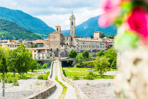 ancient medieval bridge and village Bobbio - italian landscape Emilia Romagna It Wallpaper Mural