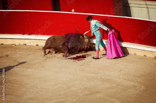 Bullfighting. Corrida in Pamplona, Navarra, Spain, 10 of july 2016. Meal'n'Real