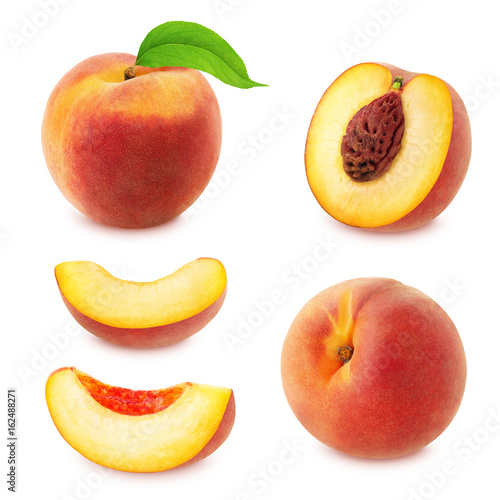 Set of peaches isolated on white.