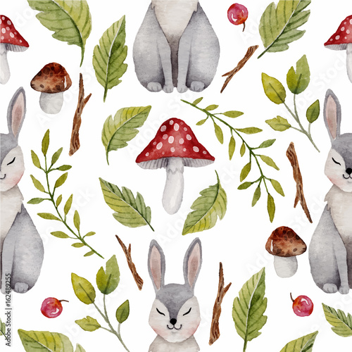 Cotton fabric Watercolor seamless pattern with hare or rabbit ,mushrooms and other  plants.