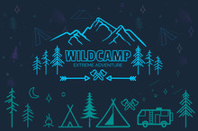 Hand Drawn Sketch Camping Icon...