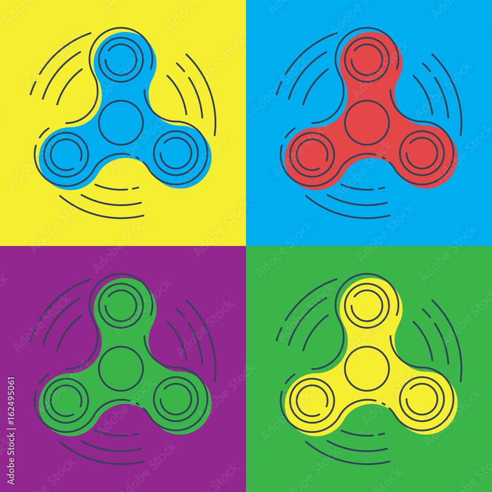 Fotografie Obraz Pop art vector Fid spinner with three arms a