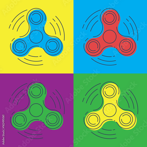 Fotografie, Obraz  Pop art vector Fidget spinner with three arms - a toy for stress and improvement