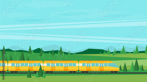 Poster Bleu clair Train on railway. Vector travel concept background.