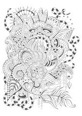 Coloring book  page for adult and older children. Zen doodles. Design for meditation. Black and white vector illustration