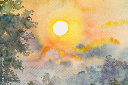 Plakat Akwarela oryginalnego krajobrazowego obrazu żółty czerwony kolor światła słonecznego i chmury tło