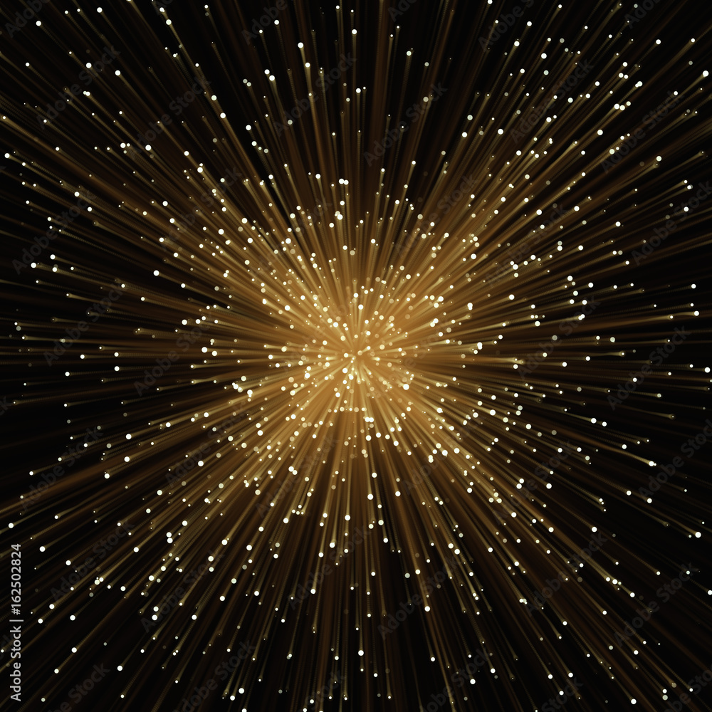 Photo & Art Print Abstract glowing golden light effect with