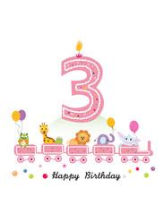 Happy Third Birthday Girl Gree...