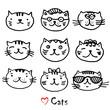 9 cute cats hand-drawn illustration. Cartoon animals series.