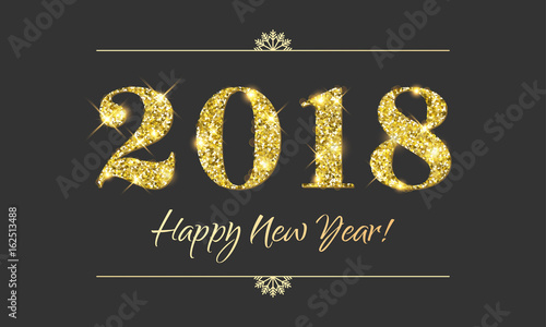 Fotografia, Obraz  Gold 2018 Happy New Year vector black background