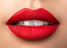 Close Up View Of Beautiful Woman Lips With Red Matt Lipstick
