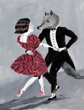 Elegant Woman Dancing With A Werewolf Wearing A Suit