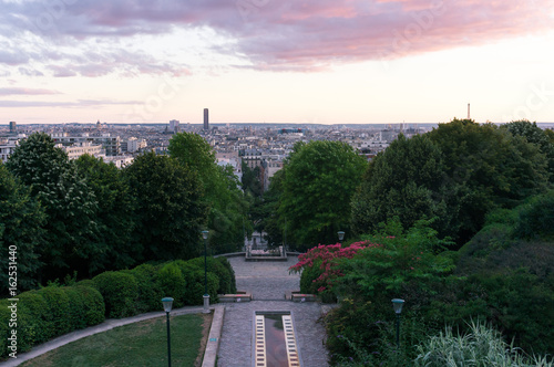 Fotografie, Obraz  Parc de Belleville au coucher du soleil, Paris