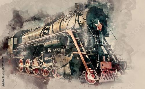 Fotografia The old Old steam locomotive on sunset background