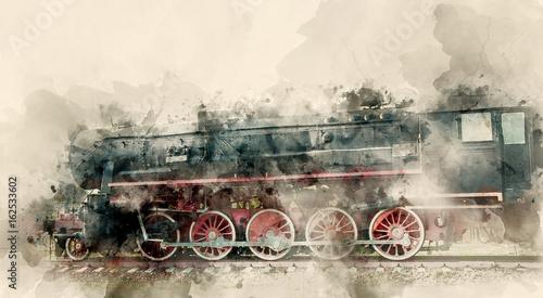 Zdjęcie XXL Stare lokomotywy parowe XX wieku. Tło akwarela