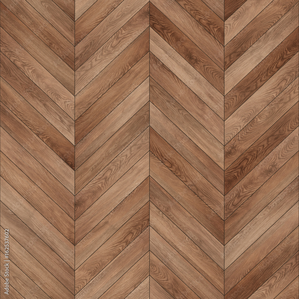 Fototapeta Seamless wood parquet texture (chevron brown) - obraz na płótnie